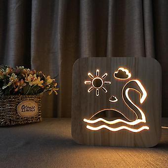 قاد خشبية نحت ليلة ضوء USB السلطة بجعة نمط t1816w