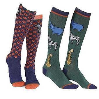 Shires Kinder/Kinder Bambus Safari Socken (Packung mit 2)
