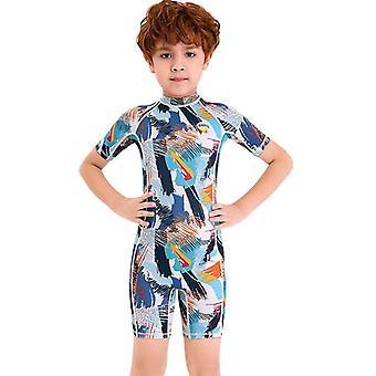 الأطفال wetsuit طويلة الأكمام قطعة واحدة الأشعة فوق البنفسجية حماية ملابس السباحة الحرارية dfse-2