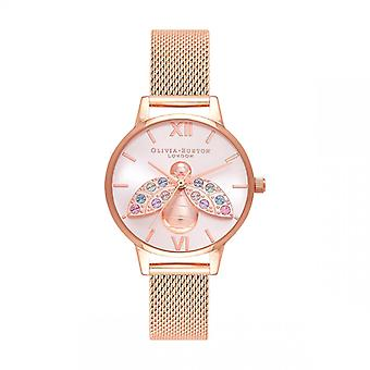 Olivia Burton Dameshorloge 3 AIGUILLES OB16RB28 - Roze Dor Steel Armband