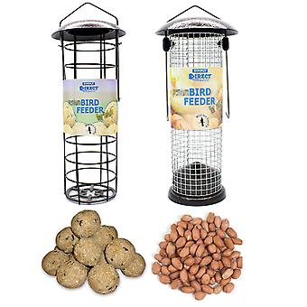 1 x Pair of Simply Direct Hammertone Seed and Fat Ball Feeders with 1KG bag of Seed Feed and 6 Suet Fat Balls Wild Bird Feed