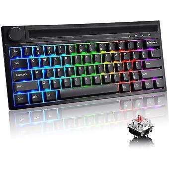 60% mechanische Typ C Gaming-Tastatur, verdrahtet / drahtlos, 19 Chrome Bluetooth, 4400mAh wiederaufladbare Hintergrundbeleuchtung RGB-Tastatur, Multimedia-Taste, eingebaute iPhone / iPad Halter (schwarz)