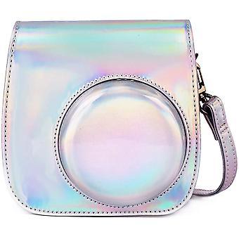 Protective case compatible with instax mini 9 mini 8 mini 8+pu leather bag (magic silver)