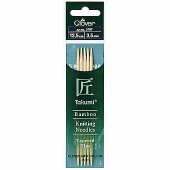 Clover Knitting Pins: Double-Ended: Set of Five: Takumi Bamboo: 12.5cm x 3.50mm