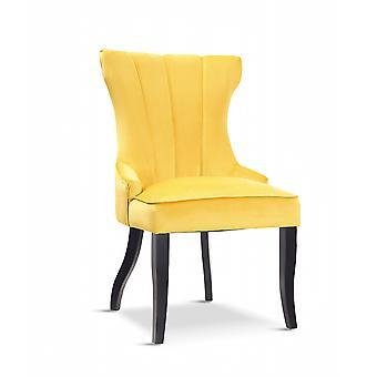 x2 Victoria Velvet Yellow Dining Chair