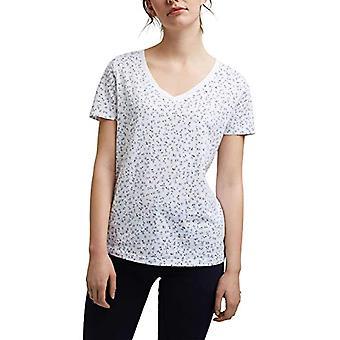 edc by Esprit V-Neck Basic T-Shirt, 101/Flowers White, XL Woman