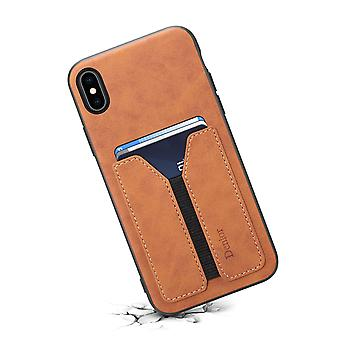 Leather wallet card slot case for iphone xr6.1 brown on855