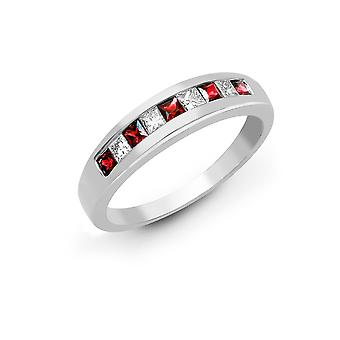 Jewelco London 18ct White Gold Channel Set Princess 0.4ct Diamond and Princess Red 0.68ct Ruby Half Eternity Ring 4mm