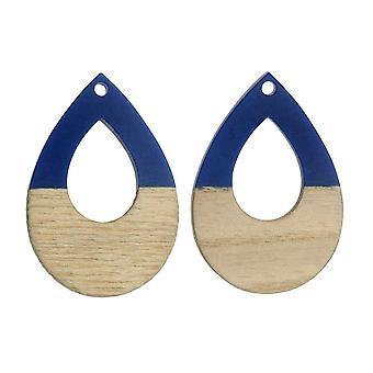 Zola Elements Wood & Resin Pendant, Open Teardrop 25x38mm, 2 Pieces, Indigo Blue