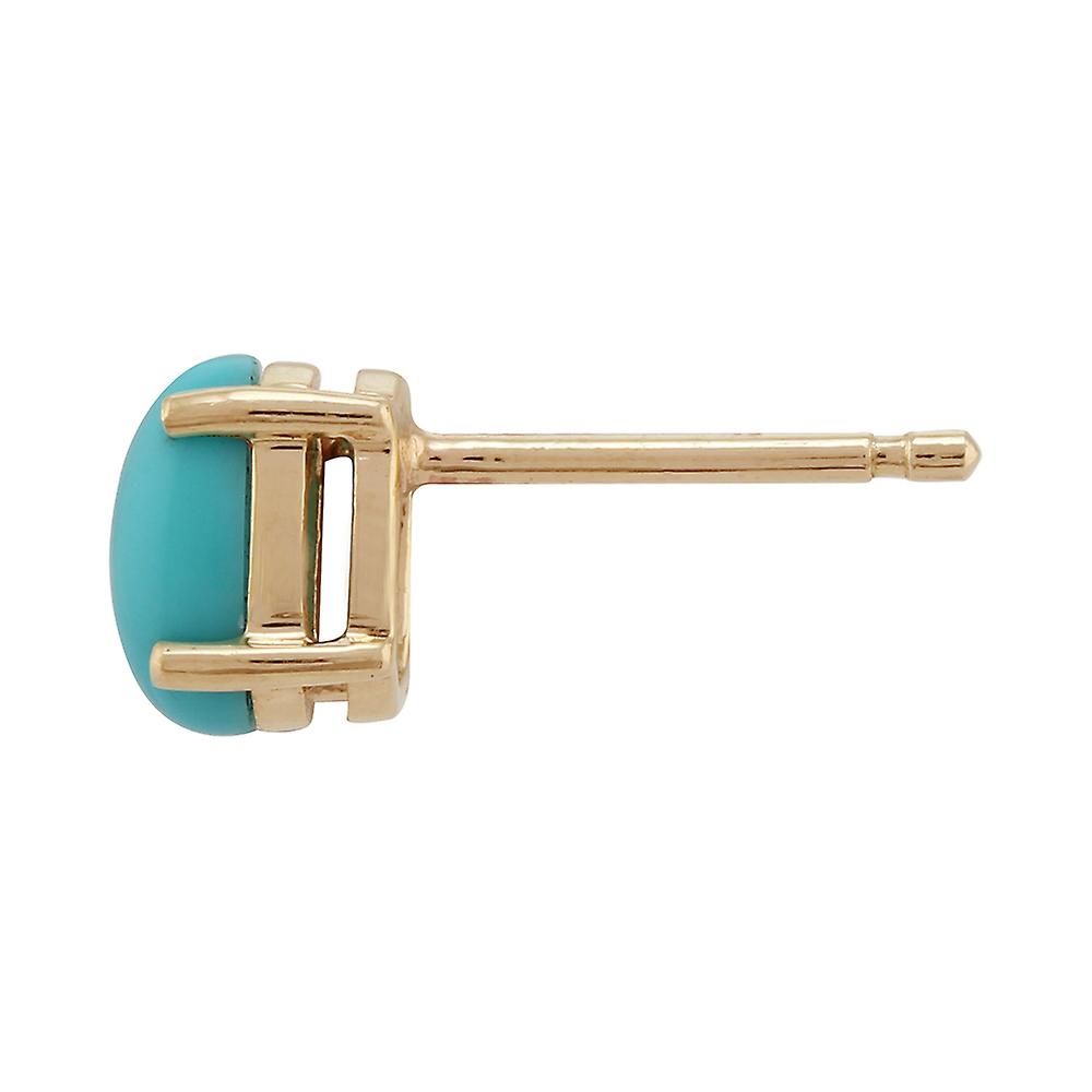 Gemondo Turquoise Oval Stud Earrings In 9ct Yellow Gold 6x4mm Claw Set