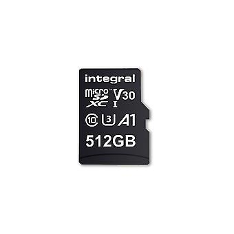Integral 512GB Micro SD-kort MicroSDXC UHS-1 U1 Cl10 V30 A1 Upp till 100Mbs Läs 80Mbs Skriv