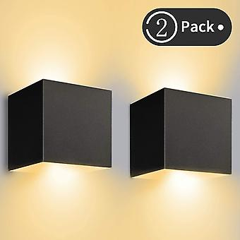 Black indoor / outdoor wall light 12w adjustable led wall lights 3000k warm white waterproof ip65 wall lamp(2pcs) dt6716