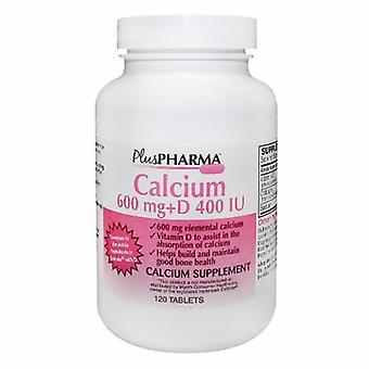 Plus Pharma Calcium + Vitamin D, 600 mg/400 IU, 120 Tabs
