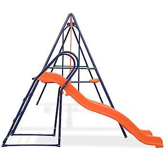 vidaXL Schaukelset mit Rutsche und 3 Sitzen Orange