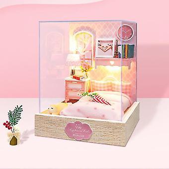 Diy house dom domček nábytok miniatúrne budova 3D dom model zostaviť drevené domček pre bábiky kit roombox deti hračky narodeninové darčeky