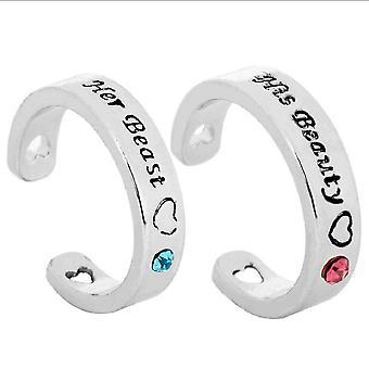 2db szépség és a fenevad gyűrű gyémánt intarziás ötvözet ujj gyűrű szerelmeseinek
