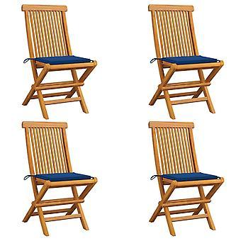vidaXL sillas de jardín con cojín azul real 4 piezas de teca de madera maciza