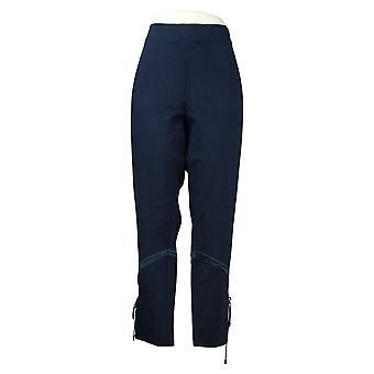 Haute Hippie Tribe Women's Pants Ponte Satin Insert & Lace Up Blue A393135