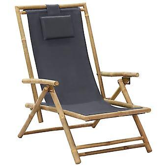 vidaXL قابل للتعديل كرسي الاسترخاء رمادي داكن الخيزران والنسيج
