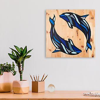 Delfin flerfärg dekorativ trä vägg tillbehör