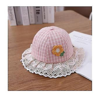 Adorable Baby Girls Floppy Hat Floral Embroidered Hollow Wide Brim Spf 50+ Hat(Pink)