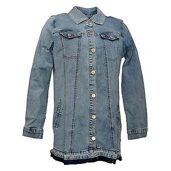 LOGO by Lori Goldstein Women's Button Front Denim Jacket Blue A378661