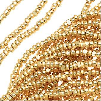 Czech Single Cut Charlotte Seed Beads 13/0 Metallic Gold 1/2 Hank