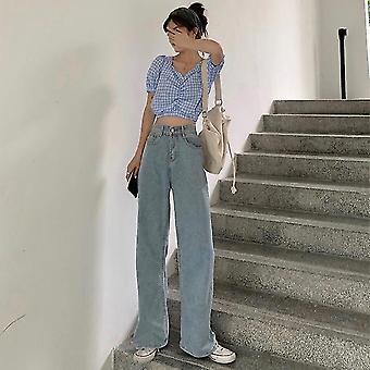 Femmes Full Length Wide Leg High Waist Pantalon denim Jeans