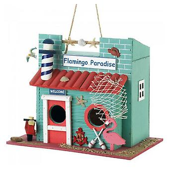 Songbird Valley Flamingo Paradise Wood Bird House, Pack of 1