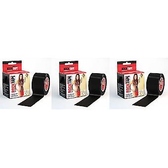 Rocktape H2O Tape Extra Sticky Adhesive Kinesiology Rolls x 3 - Negro