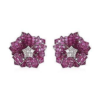 Lustro Stella Piros / Kék Köbös Cirkónium szimulált gyémánt ménes fülbevaló ezüst