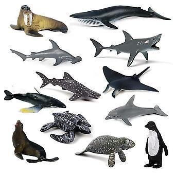 12 kappaletta / joukko meren elämää leluja Eläin muovi merikylpy lelu malli Lasten koulutus lelu lahja