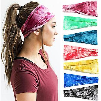 7pcs Printing Yoga Fitness Hair Band Moisture Wicking Sweatband