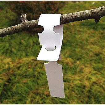 Trädgårdsredskap vit plastetikett krage, kan hängas och kan skriva a (200 stycken)
