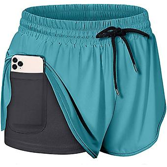 Women's Stretch Double Layer Yoga Shorts Running Gym Hot Pants