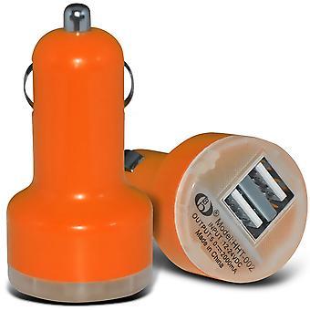 Samsung Galaxy Core Prime naranja doble puerto USB Mini bala en el adaptador del cargador del coche