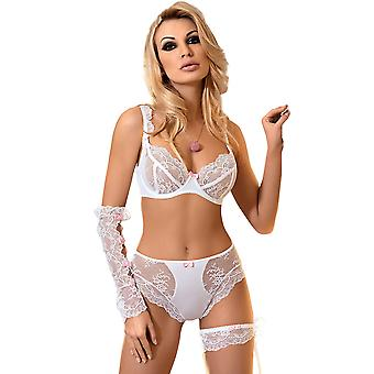Roza Ambre White Lace and Pink Bow Soft Cup Bra