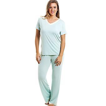 Camille stijlvolle Full Length korte mouw Mint groene Pyjama Set