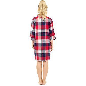 Окрашенная пряжа Foxbury женские пижамы спокойной богатая ночная рубашка хлопок плед проверки