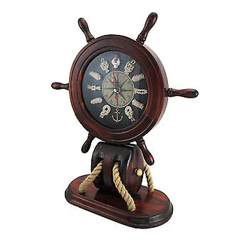 Wooden Ships Wheel and Nautical Knots Mantel Clock