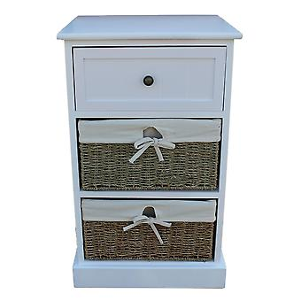 Two Drawer White Bedside Cabinet