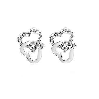 Womens Silver tonen örhängen fastkedjad hjärtat Diamante