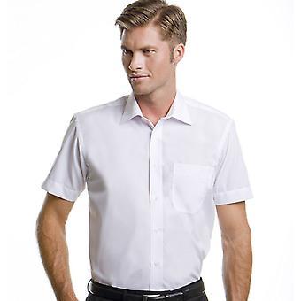 Kustom Kit Mens negócios cores curto camisa mangas trabalho ajuste sob medida