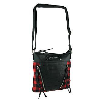 Unie Bay rood en zwart flanellen Crossbody tas met verstelbare riem