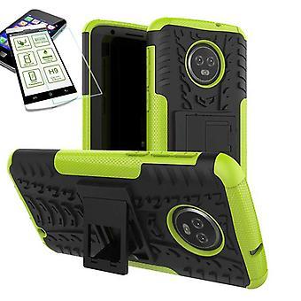 For Motorola Moto G6 plus hybrid sag taske 2 stykke grøn + hærdet glas tilfælde dække ærme