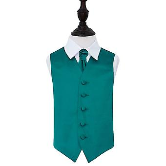 Teal Plain Satin Wedding Vest & Cravat Set voor Jongens