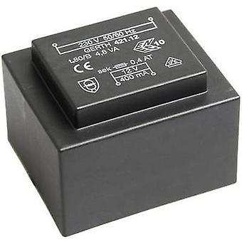 Gerth PT422402 PCB mount transformer 1 x 230 V 2 x 12 V AC 4.80 VA 200 mA