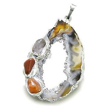 Brasilianske heldig agat skive sjarm med Multi tumlet edelstener Amulet dyppet i sølv anheng