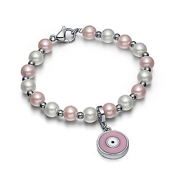Amulet Positive beføjelser simuleret perle hvid sød Pink onde øjne beskyttelse magiske energi armbånd