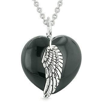 Ange gardien aile Inspirational amulette magique Puffy coeur noir Agate pendentif 18 pouces collier